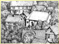 Sketch of Korbach Synagogue and School pre Kristallnacht.